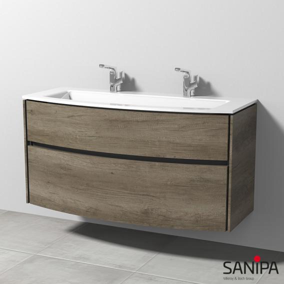 Sanipa TwigaGlas Glas-Waschtisch mit Waschtischunterschrank mit 2 Auszüge Front eiche nebraska / Korpus eiche nebraska