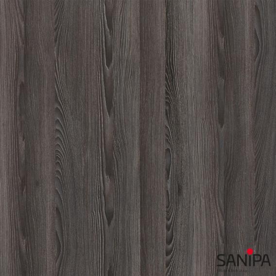 Sanipa TwigaGlas Glas-Waschtisch mit Waschtischunterschrank mit 1 Tür Front pinie schwarz / Korpus pinie schwarz