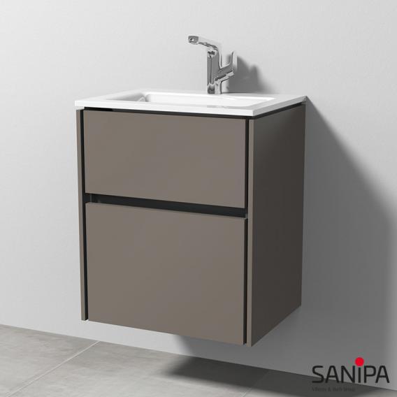 Sanipa TwigaGlas Glas-Waschtisch mit Waschtischunterschrank mit 2 Auszüge Front terra matt / Korpus terra matt