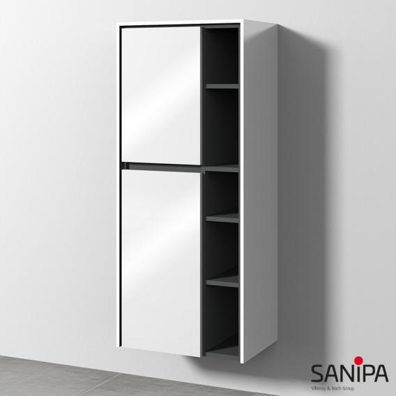 Sanipa TwigaGlas Stauraumschrank mit 2 Türen Front weiß glanz / Korpus weiß glanz