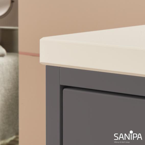 Sanipa Vindo Finion Waschtisch mit Waschtischunterschrank mit 2 Auszügen Front kiesel matt / Korpus kiesel matt, Griffe kiesel matt, mit 2 Hahnlöchern, ohne Überlauf
