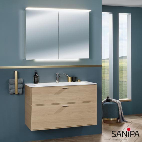 Sanipa Vindo Finion Waschtisch mit Waschtischunterschrank mit 2 Auszügen Front naturweiß matt / Korpus naturweiß matt, Griffe naturweiß matt, mit 1 Hahnloch, mit Überlauf