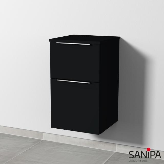 Sanipa 3way Beistellschrank mit 2 Auszügen Front schwarz matt / Korpus schwarz matt, mit Griffleiste