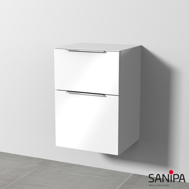 Sanipa 3way Beistellschrank mit 2 Auszügen Front weiß glanz / Korpus weiß glanz, mit Griff