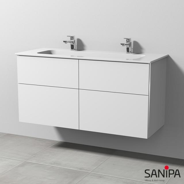 Sanipa 3way Doppelwaschtisch Design mit Waschtischunterschrank mit 4 Auszügen Front weiß soft / Korpus weiß soft, mit Griffleiste