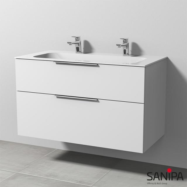 Sanipa 3way Doppelwaschtisch Finion mit Waschtischunterschrank mit 2 Auszügen Front weiß soft / Korpus weiß soft, mit Griffleiste