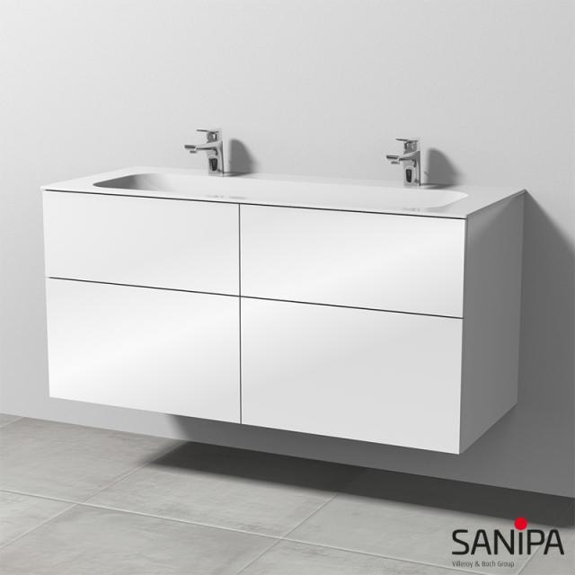 Sanipa 3way Doppelwaschtisch Finion mit Waschtischunterschrank mit 4 Auszügen Front weiß glanz / Korpus weiß glanz, mit Tip-on-Technik