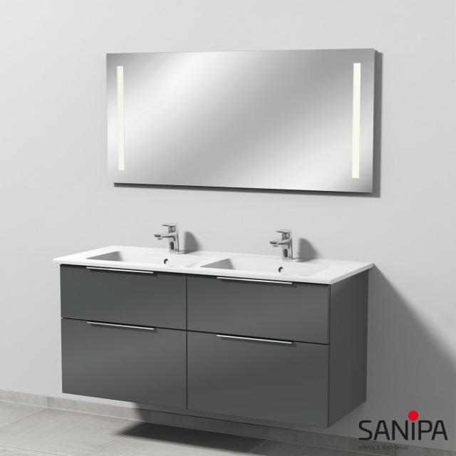 Sanipa 3way Doppelwaschtisch mit Waschtischunterschrank mit 4 Auszügen und LED-Spiegel Front anthrazit glanz/verspiegelt / Korpus anthrazit glanz, mit Griffleiste, Lichtfarbe warmweiß