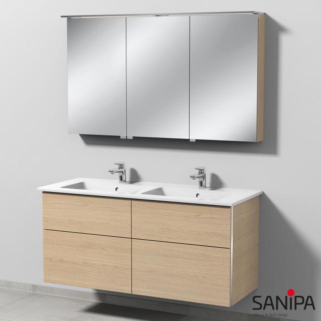 Sanipa 3way Doppelwaschtisch mit Waschtischunterschrank mit 4 Auszügen und LED-Spiegelschrank Front eiche nordic/verspiegelt / Korpus eiche nordic, mit Griffmulde
