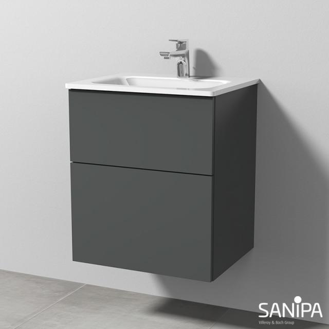 Sanipa 3way Waschtisch mit Waschtischunterschrank mit 2 Auszügen Front anthrazit matt / Korpus anthrazit matt, mit Tip-on-Technik
