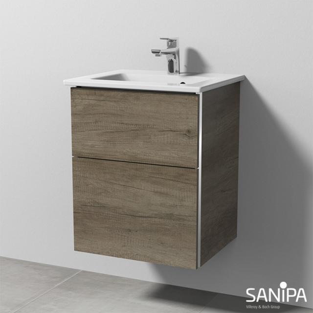 Sanipa 3way Waschtisch Venticello Waschtischunterschrank mit 2 Auszügen Front eiche nebraska / Korpus eiche nebraska, mit Griffmulde