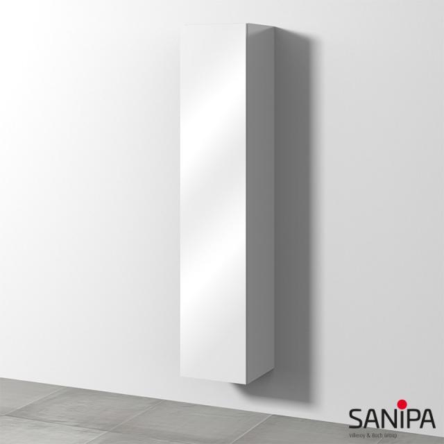 Sanipa 3way Hochschrank mit 1 Tür Front weiß glanz / Korpus weiß glanz, mit Tip-on-Technik