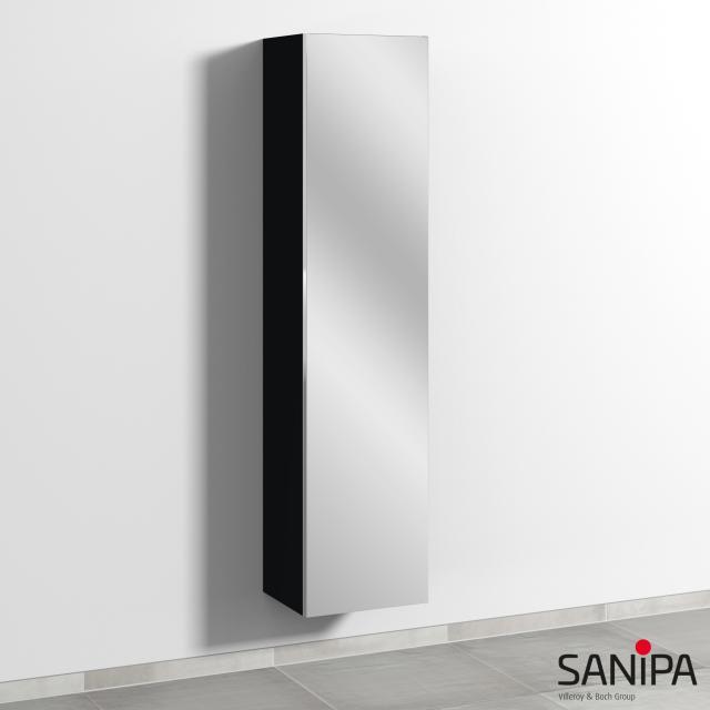 Sanipa 3way Hochschrank mit Doppelspiegeltür Front schwarz matt / Korpus schwarz matt