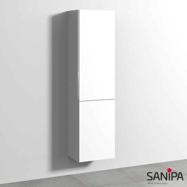 Sanipa 3way Hochschrank mit 1 Tür und 1 Wäschekippe Front weiß soft / Korpus weiß soft, mit Griffleiste