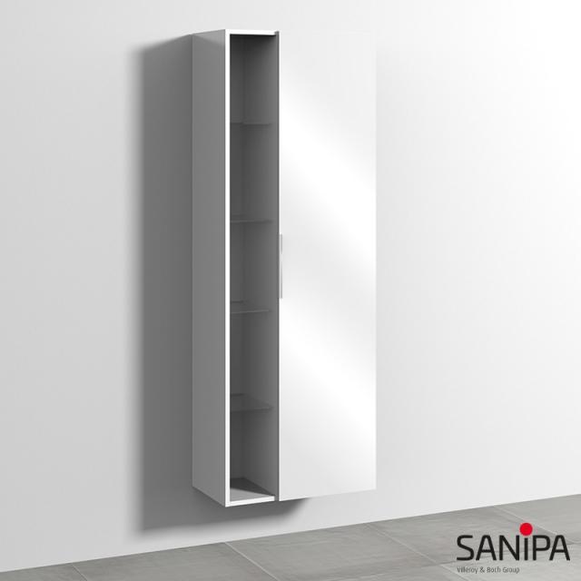 Sanipa 3way Hochschrank mit 1 Tür und Seitenregal Front weiß glanz / Korpus weiß glanz, mit Griffleiste