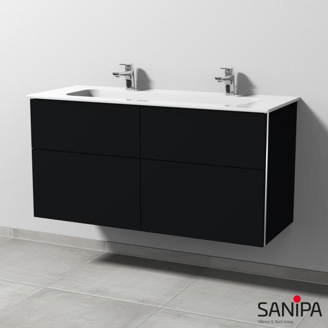 Sanipa 3way Doppelwaschtisch Design mit Waschtischunterschrank mit 4 Auszügen Front schwarz matt / Korpus schwarz matt, mit Griffmulde