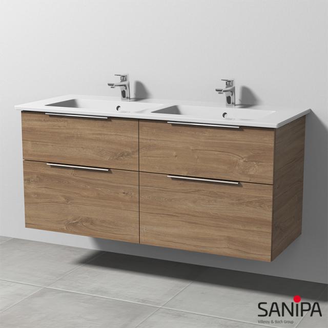 Sanipa 3way Doppelwaschtisch Venticello mit Waschtischunterschrank mit 4 Auszügen Front eiche kansas / Korpus eiche kansas, mit Griff