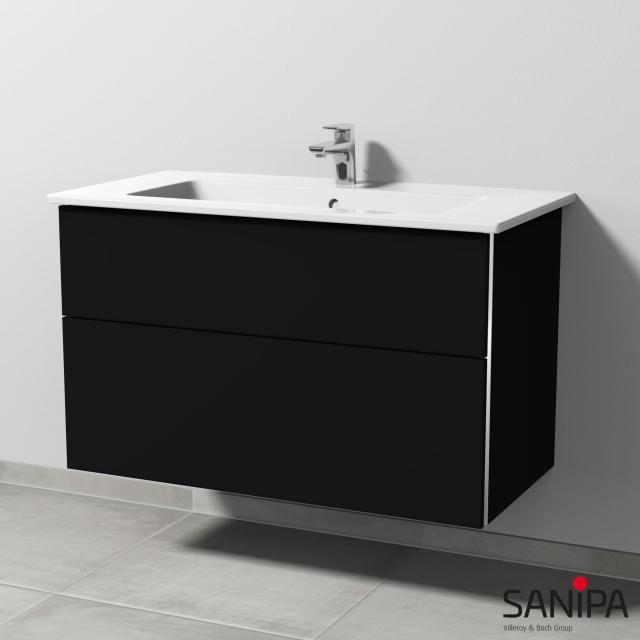 Sanipa 3way Waschtisch Venticello Waschtischunterschrank mit 2 Auszügen Front schwarz matt / Korpus schwarz matt, mit Griffleiste