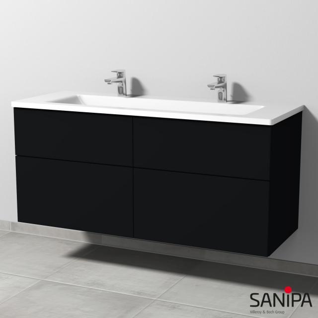 Sanipa 3way Doppelwaschtisch mit Waschtischunterschrank mit 4 Auszügen Front schwarz matt / Korpus schwarz matt, mit Tip-on-Technik