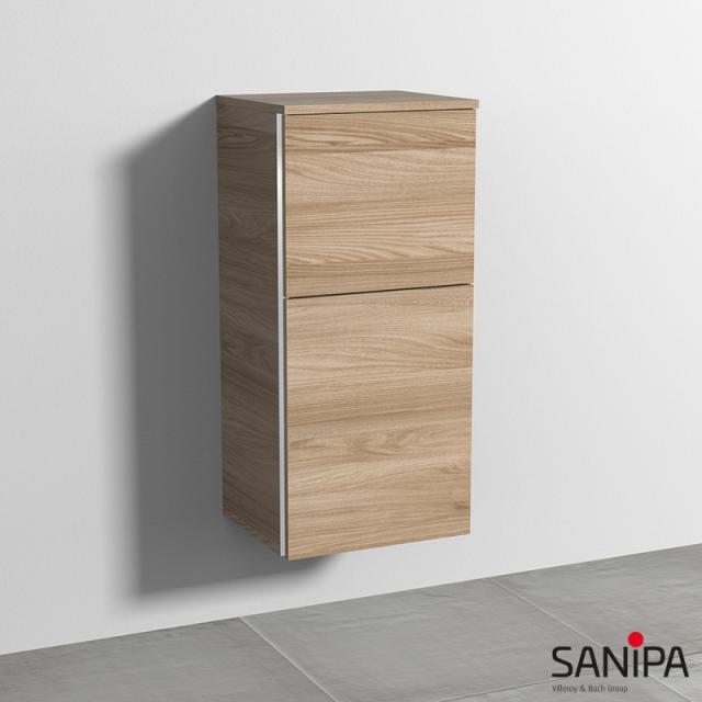 Sanipa 3way Mittelschrank mit 1 Tür und 1 Auszug Front ulme natural touch / Korpus ulme natural touch, mit Griffmulde
