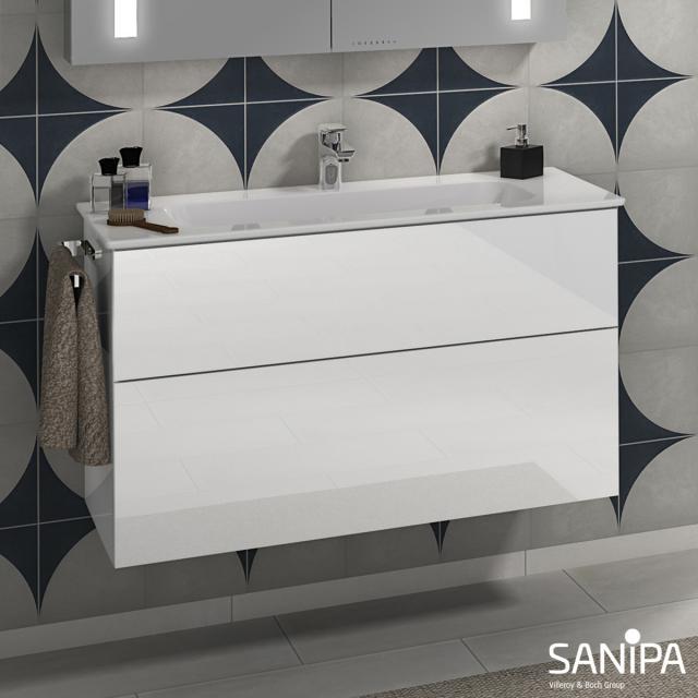 Sanipa 3way Waschtisch Design mit Waschtischunterschrank mit 2 Auszügen Front weiß glanz / Korpus weiß glanz, mit Tip-on-Technik