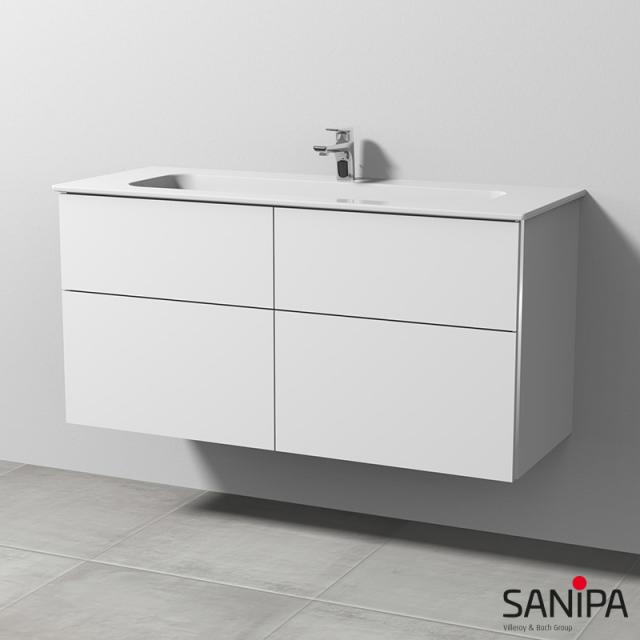 Sanipa 3way Waschtisch Design mit Waschtischunterschrank mit 4 Auszügen Front weiß soft / Korpus weiß soft, mit Griffmulde
