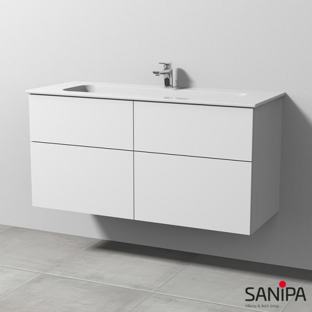 Sanipa 3way Waschtisch Design mit Waschtischunterschrank mit 4 Auszügen Front weiß soft / Korpus weiß soft, mit Tip-on-Technik