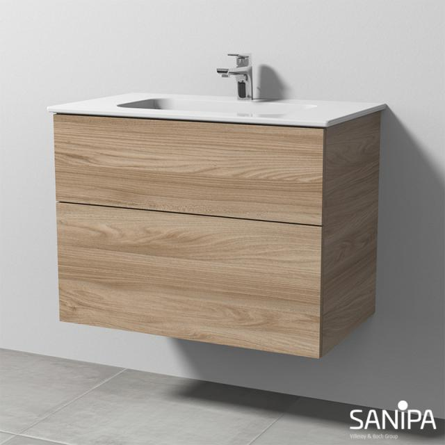 Sanipa 3way Waschtisch Design mit Waschtischunterschrank mit 2 Auszügen Front ulme natural touch / Korpus ulme natural touch, mit Tip-on-Technik