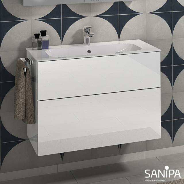 Sanipa 3way Waschtisch Finion mit Waschtischunterschrank mit 2 Auszügen Front weiß glanz / Korpus weiß glanz, mit Griffleiste