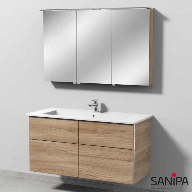 Sanipa 3way Waschtisch mit Waschtischunterschrank mit 4 Auszügen und LED-Spiegelschrank Front ulme natural touch/verspiegelt / Korpus ulme natural touch, mit Griffmulde, Anschlag links, rechts, rechts