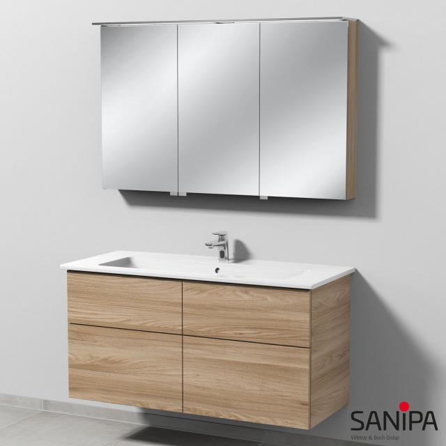 Sanipa 3way Waschtisch mit Waschtischunterschrank mit 4 Auszügen und LED-Spiegelschrank Front ulme natural touch/verspiegelt / Korpus ulme natural touch, mit Tip-on-Technik, Anschlag links, rechts, rechts