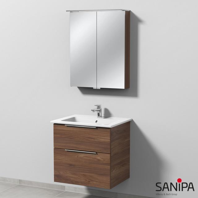 Sanipa 3way Waschtisch mit Waschtischunterschrank mit 2 Auszügen und LED-Spiegelschrank Front kirsche natural touch/verspiegelt / Korpus kirsche natural touch, mit Griffleiste, Becken mittig
