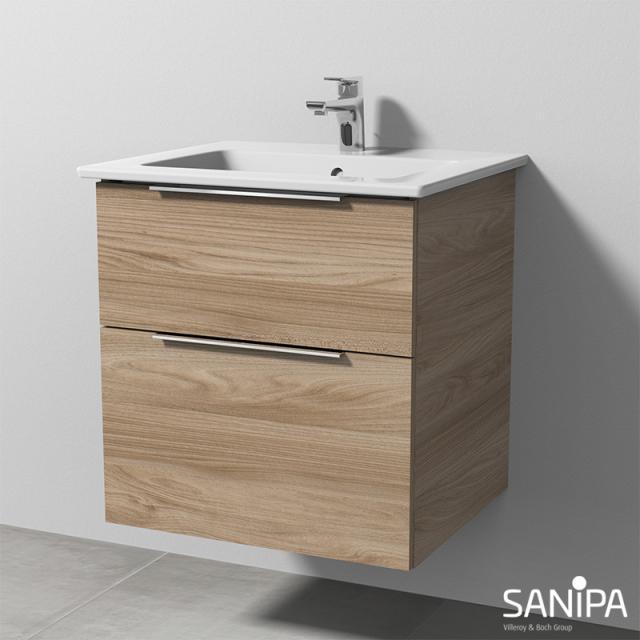 Sanipa 3way Waschtisch Venticello Waschtischunterschrank mit 2 Auszügen Front ulme natural touch / Korpus ulme natural touch, mit Griff