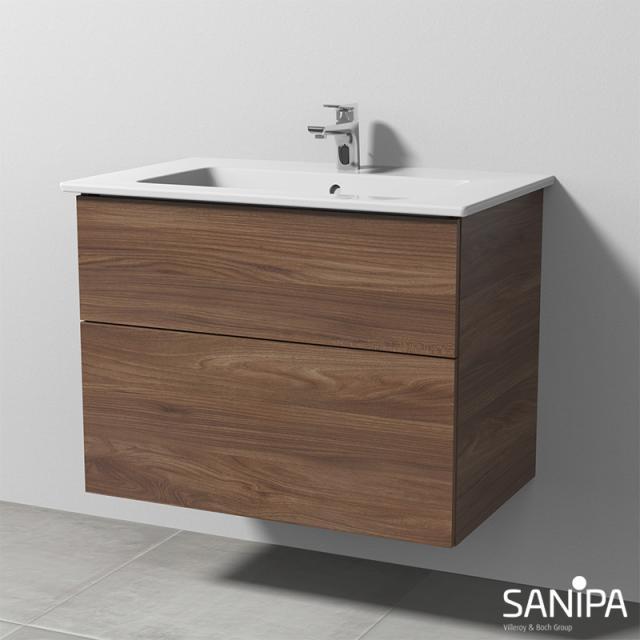 Sanipa 3way Waschtisch Venticello Waschtischunterschrank mit 2 Auszügen Front kirsche natural touch / Korpus kirsche natural touch, mit Tip-on-Technik