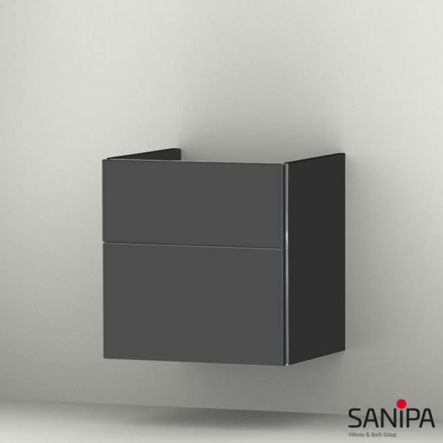 Sanipa 3way Waschtischunterschrank mit 2 Auszügen für it! Front anthrazit matt/ Korpus anthrazit matt