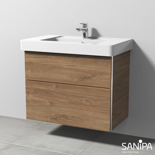 Sanipa 3way Waschtischunterschrank mit 2 Auszügen für Omnia Architectura Front eiche kansas / Korpus eiche kansas