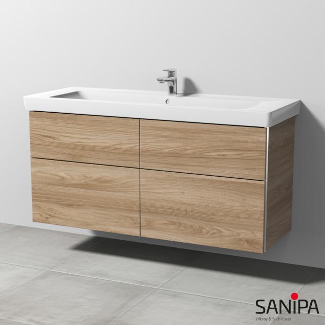 Sanipa 3way Waschtischunterschrank für Subway 2.0 mit 4 Auszügen Front ulme natural touch / Korpus ulme natural touch, mit Griffmulde