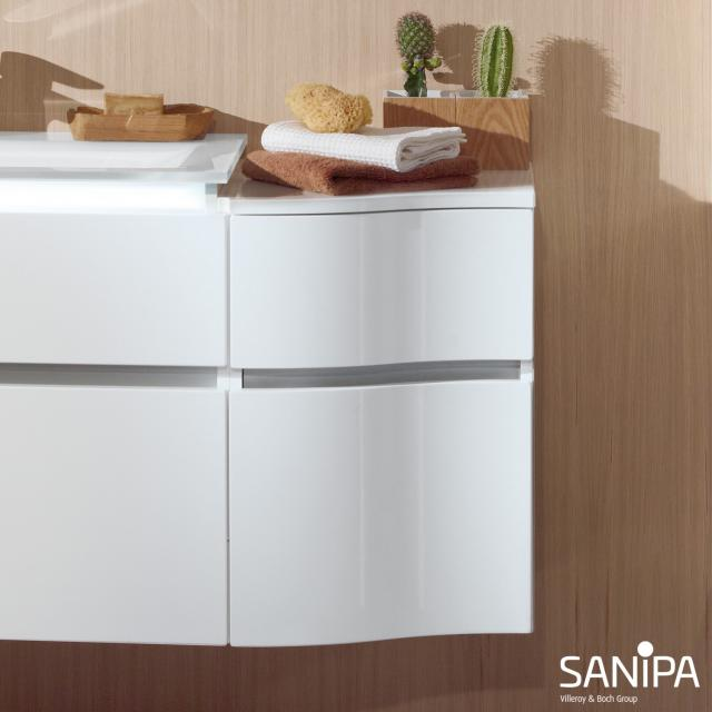 Sanipa CantoBay Anbauschrank geschwungen mit 2 Auszügen Front weiß glanz / Korpus weiß glanz