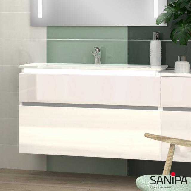 Sanipa CantoBay Waschtischunterschrank mit LED-Beleuchtung mit 2 Auszügen Front weiß glanz / Korpus weiß glanz