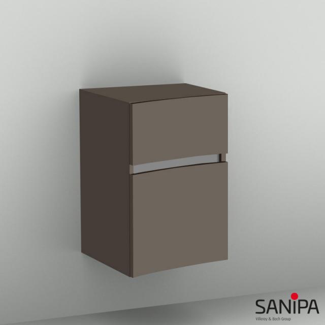 Sanipa CurveBay Anbauschrank geschwungen mit 2 Auszügen Front terra matt / Korpus terra matt