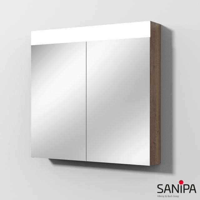 Sanipa Reflection Spiegelschrank MARA mit LED-Beleuchtung eiche tabak