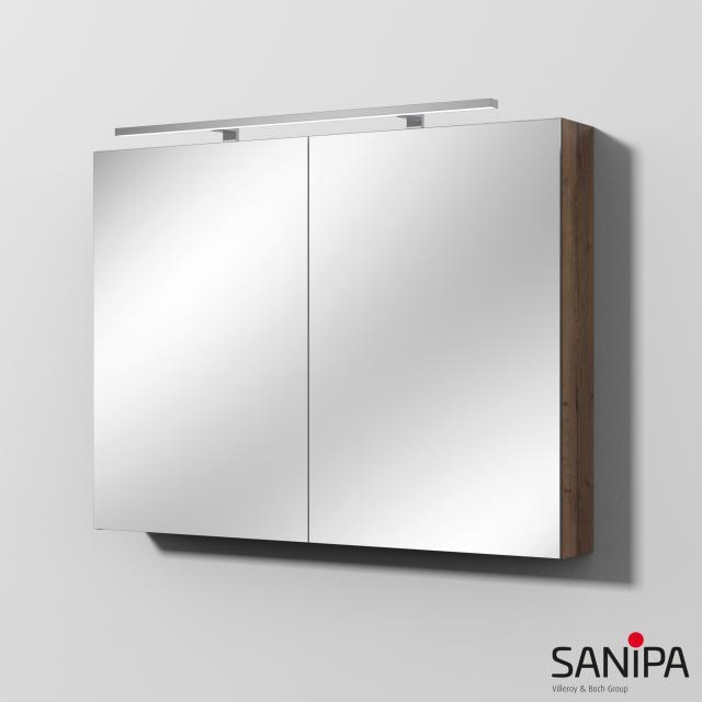 Sanipa Reflection Spiegelschrank MILLA mit LED-Beleuchtung eiche tabak