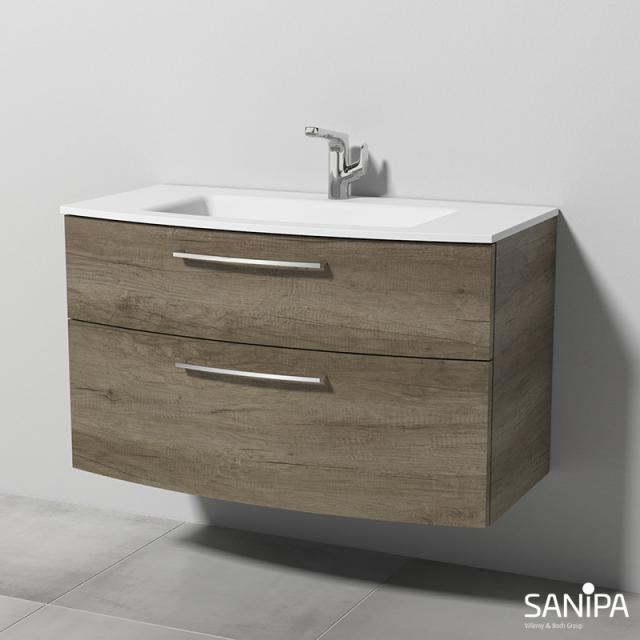 Sanipa Solo One Round Waschtisch mit Waschtischunterschrank mit 2 Auszügen Front eiche nebraska / Korpus eiche nebraska