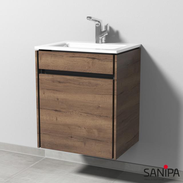 Sanipa TwigaGlas Handwaschbecken mit Waschtischunterschrank mit 1 Tür Front eiche tabak / Korpus eiche tabak