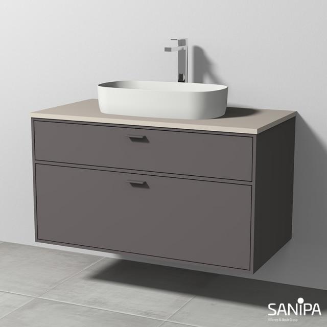 Sanipa Vindo Aufsatzwaschtisch mit Waschtischunterschrank mit 2 Auszügen Front kiesel matt / Korpus kiesel matt, Griffe kiesel matt