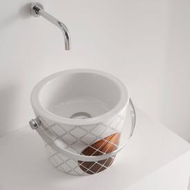 Scarabeo Bucket Aufsatzwaschbecken mit Dekor weiß/braun
