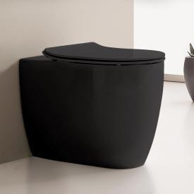 Scarabeo Moon Stand-Tiefspül-WC ohne Spülrand, schwarz, mit BIO System Beschichtung