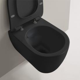 Scarabeo Moon Wand-Tiefspül-WC ohne Spülrand, schwarz matt, mit BIO System Beschichtung