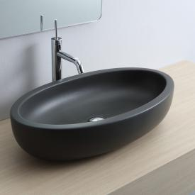 Scarabeo Planet Ovale Aufsatzwaschbecken schwarz matt, mit BIO System Beschichtung