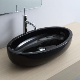 Scarabeo Planet Ovale Aufsatzwaschbecken schwarz, mit BIO System Beschichtung